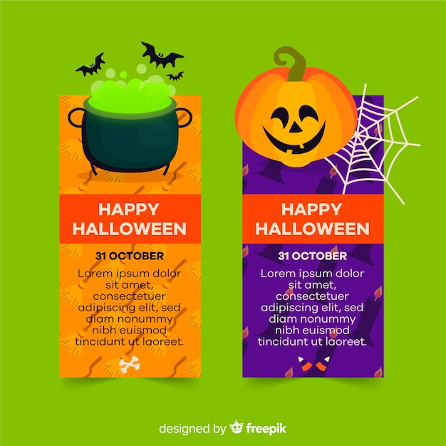 Cute halloween flat banners with copy space Free Vector