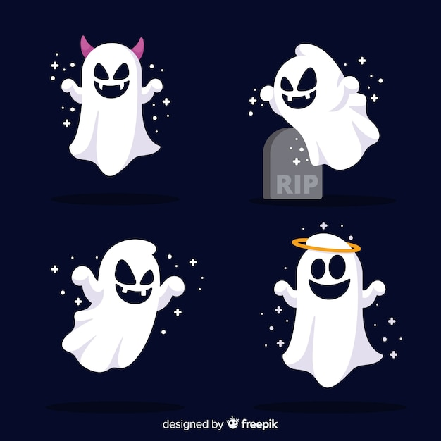 Cute halloween ghost collection with flat design Free Vector