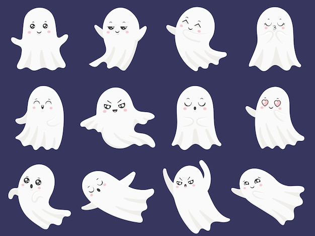 Cute halloween ghosts set Premium Vector