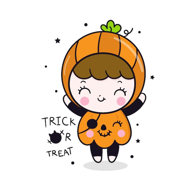 Cute halloween girl cartoon in pumpkin dress Premium Vector