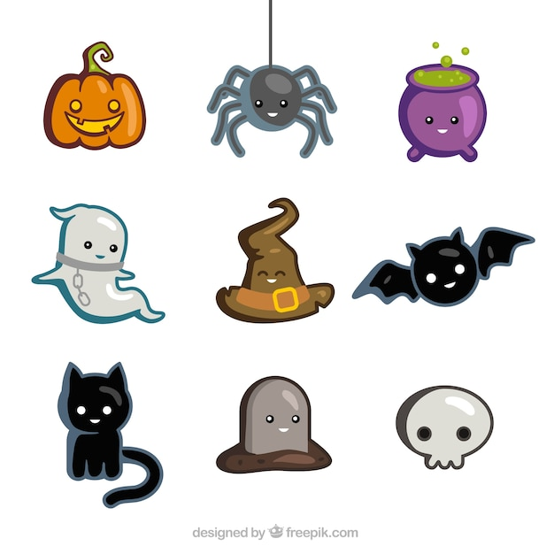 cute halloween icons free vector - Download Halloween Pictures Free