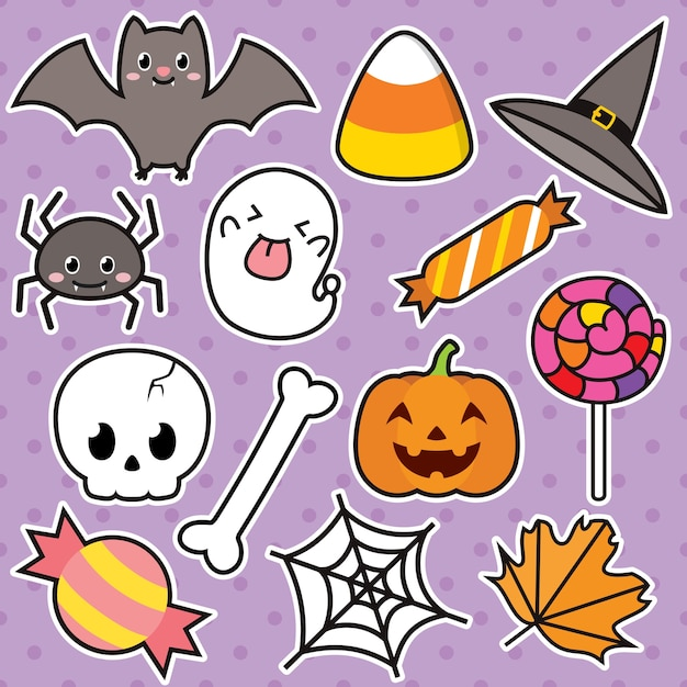 Cute halloween illustration character set Premium Vector