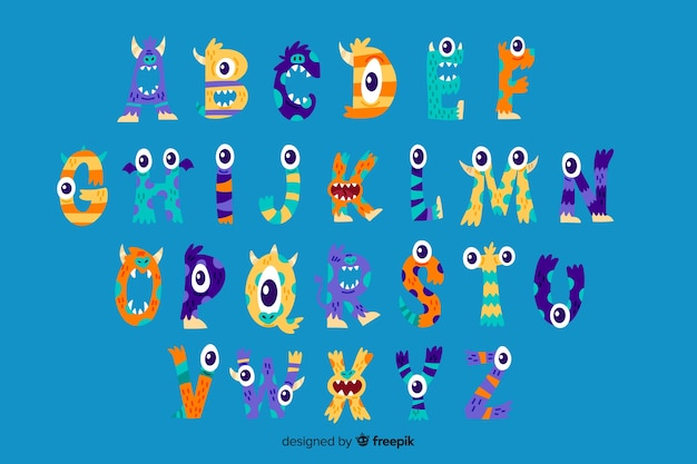 Cute halloween monster alphabet Free Vector