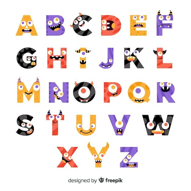 Cute halloween monster alphabet Free Vector