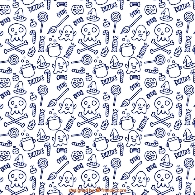 Cute Halloween Pattern In Doodle Style Vector Free Download Adorable Doodle Patterns