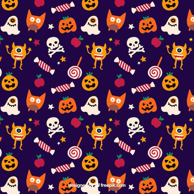 Cute halloween pattern Vector | Premium Download