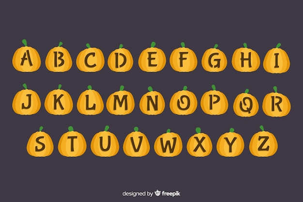 Cute halloween pumpkin alphabet Free Vector