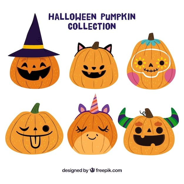 Cute halloween pumpkin set Vector | Free Download