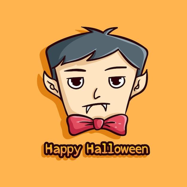 Cute halloween vampire on orange background Premium Vector