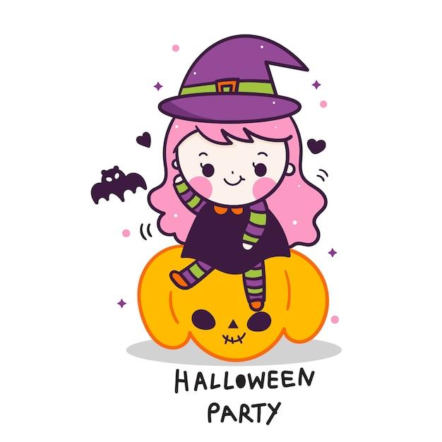 Cute halloween vector baby girl on pumpkin cartoon Premium Vector