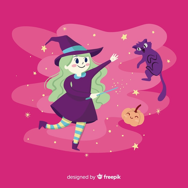 Cute halloween witch background Free Vector