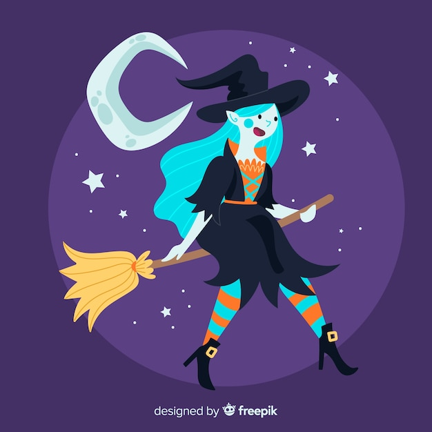 Cute halloween witch on broom Free Vector