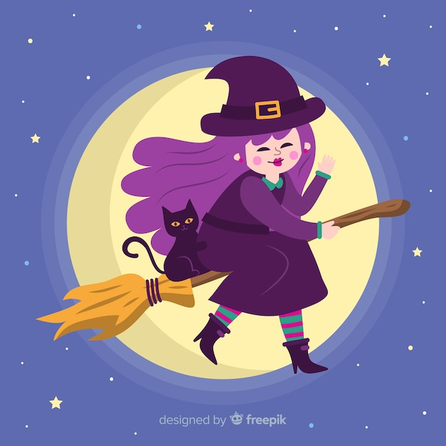 Free Vector | Cute halloween witch on broom