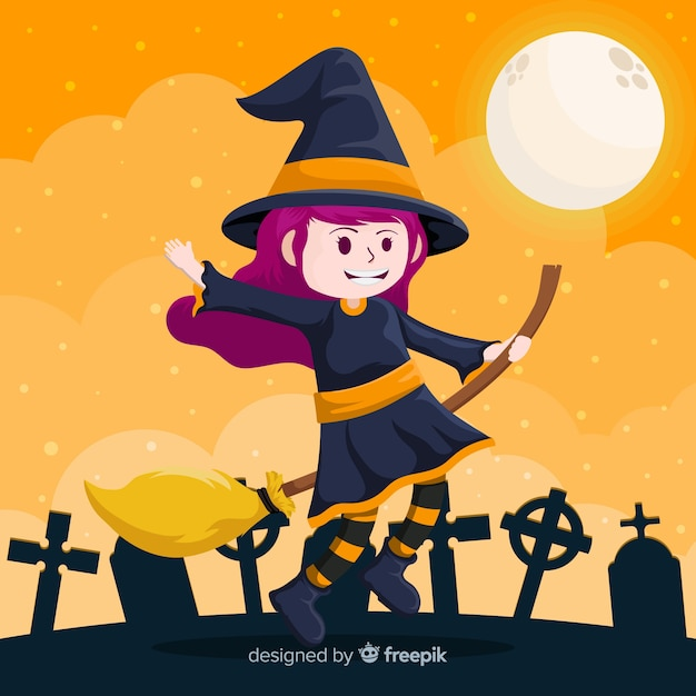 Cute halloween witch in cemetery Free Vector