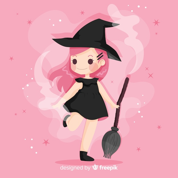 Cute halloween witch flat design Free Vector