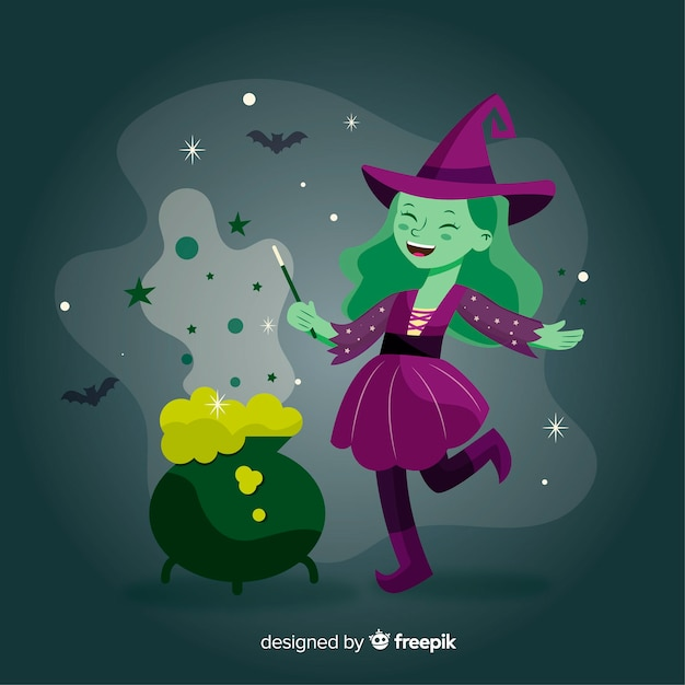 Cute halloween witch making spell Free Vector