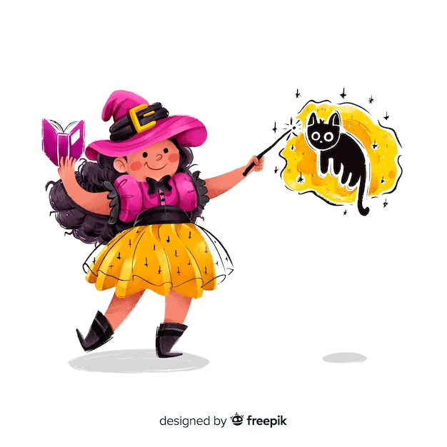 Cute halloween witch making a spell Free Vector