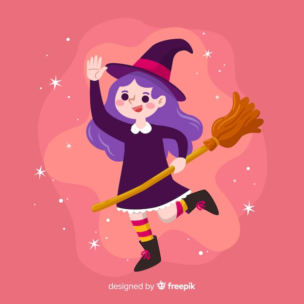 Cute halloween witch on pink background Free Vector