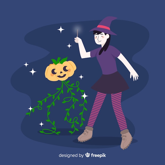Cute halloween witch and pumpkin Free Vector