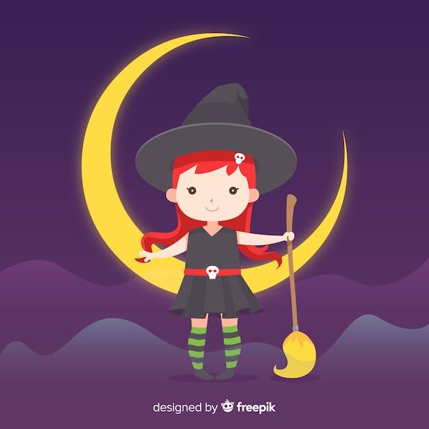 Милая ведьма хэллоуин, сидя на луне Бесплатные векторы
