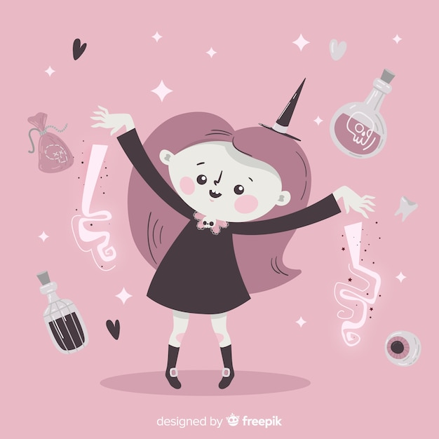 Cute halloween witch surrounded by potions for spells Free Vector