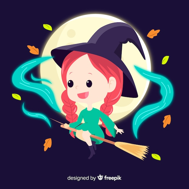 Cute halloween witch with a broom Free Vector
