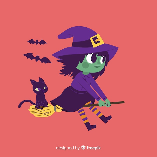 Cute halloween witch with cat Free Vector
