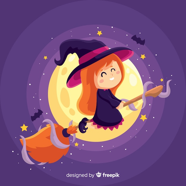 Cute halloween witch with full moon Free Vector