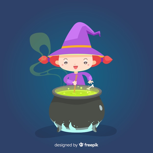 Cute halloween witch with melting pot Free Vector