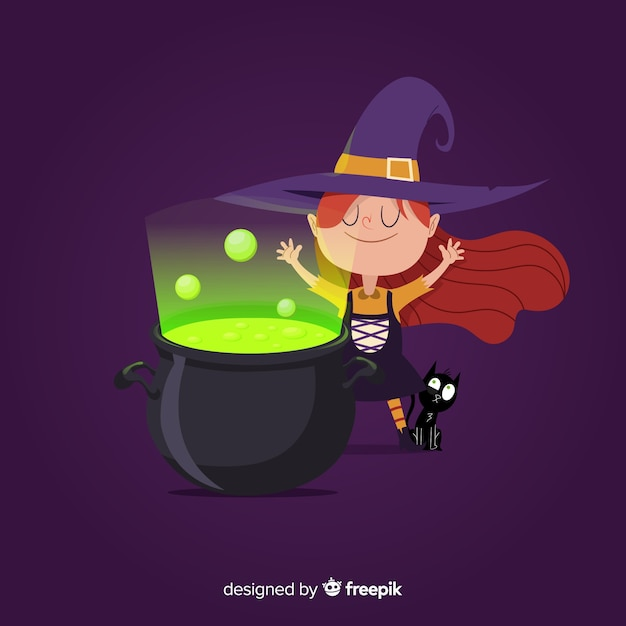 Cute halloween witch with witch pot Free Vector