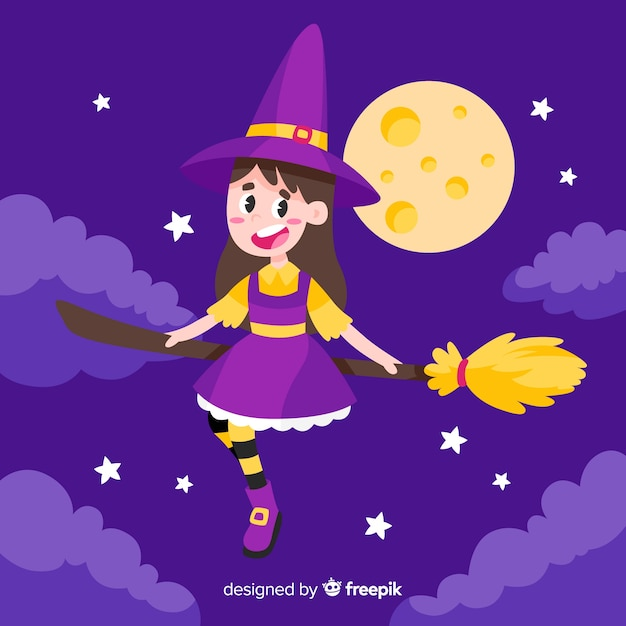 Cute halloween witch | Free Vector