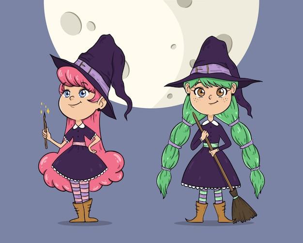 Streghe di halloween carino Vettore gratuito