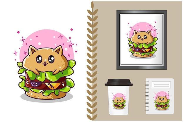 Милый гамбургер иллюстрации шаржа Premium векторы