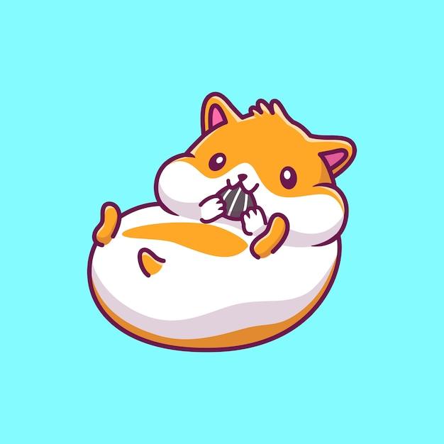 Симпатичные хомяка еды значок иллюстрации. хомяк талисман мультипликационный персонаж. животное иконка концепция изолированные Premium векторы