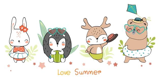 かわいい手描きの野生動物の家族挨拶漫画落書き壁紙 Premiumベクター