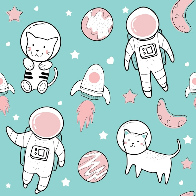 Cute hand drawings of cute illustrations of astronaut seamless pattern Premium Vector