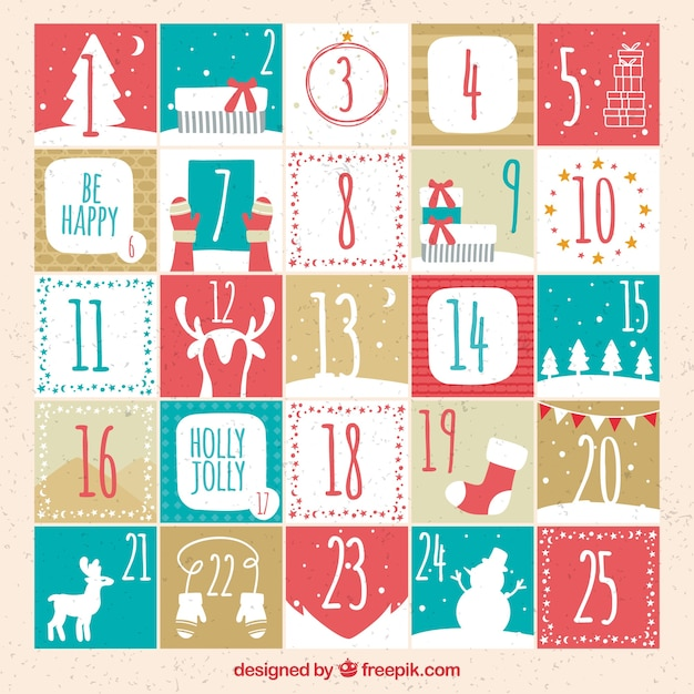 Cute hand drawn advent calendar in soft colours