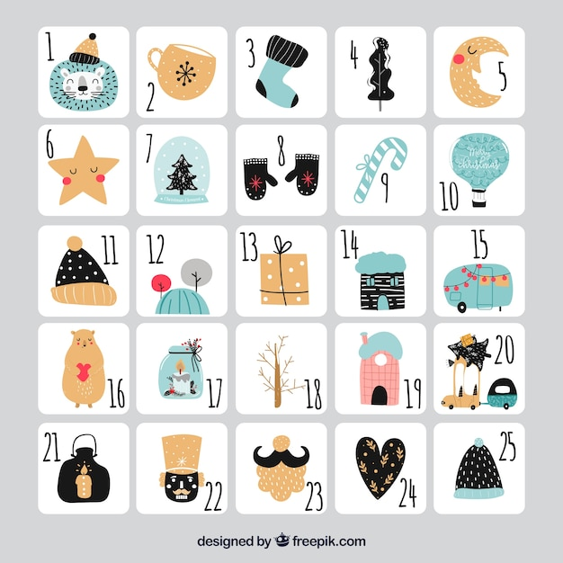 Cute hand drawn advent calendar on a grey background Free Vector