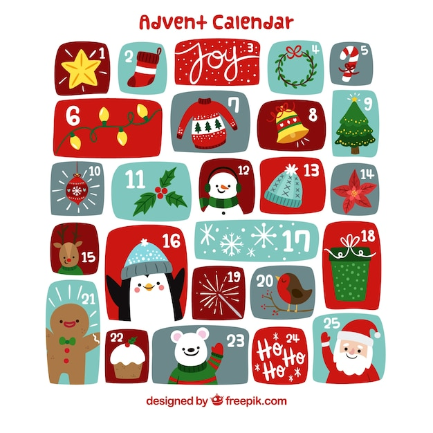 Cute hand drawn advent calendar with christmas characters and decorations