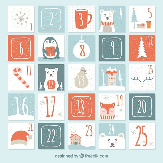 Cute hand drawn advent calendar Free Vector