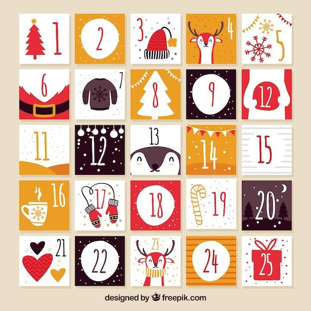 Cute hand drawn advent calendar Free Vector