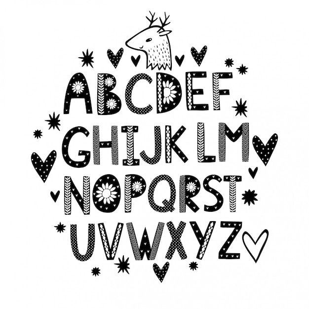 Cute hand drawn alphabet with hearts Free Vector