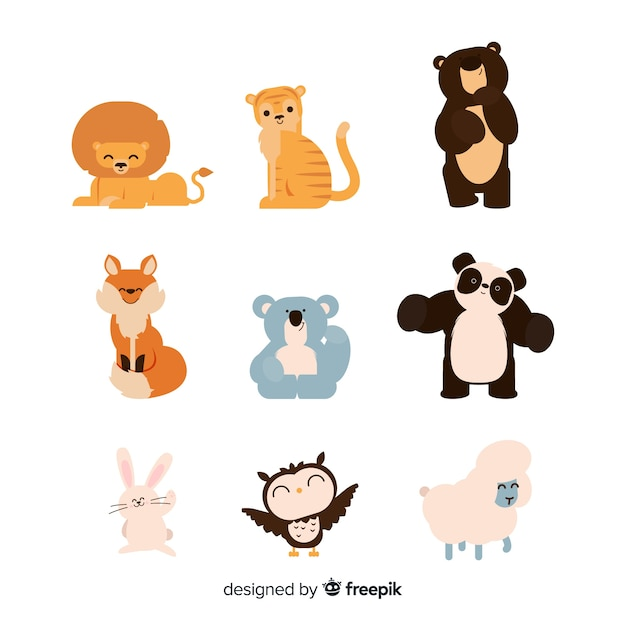 Cute hand drawn animal collection Free Vector