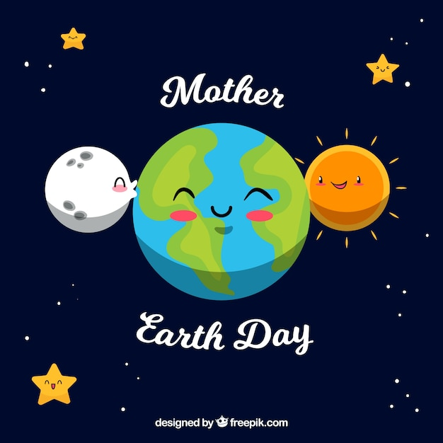 Cute Hand Drawn Background For The Earth Day Vector Free Download
