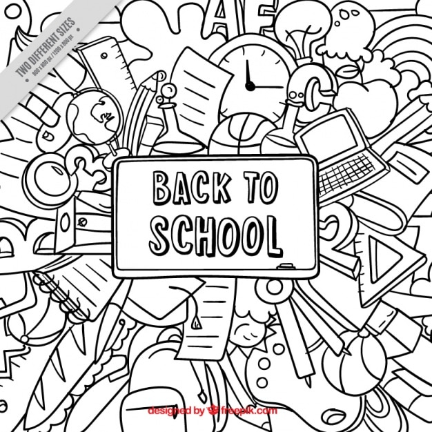 Cute hand drawn background for back to school