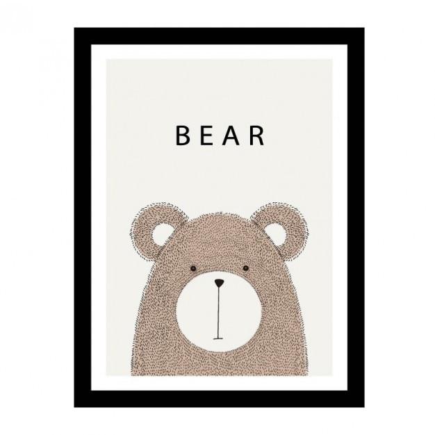 Cute hand drawn bear design Free Vector