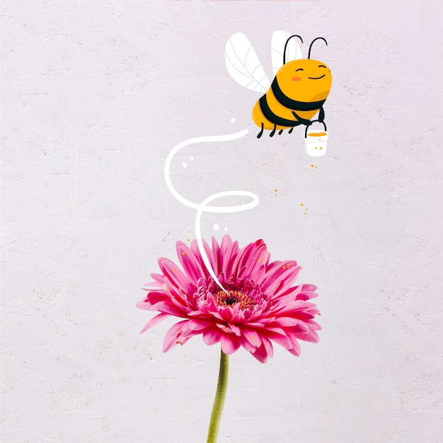 Cute hand drawn bee with a honey jar Free Vector