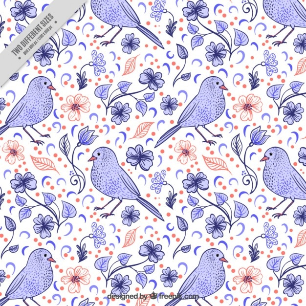 Cute hand drawn bird with flowers background Free Vector