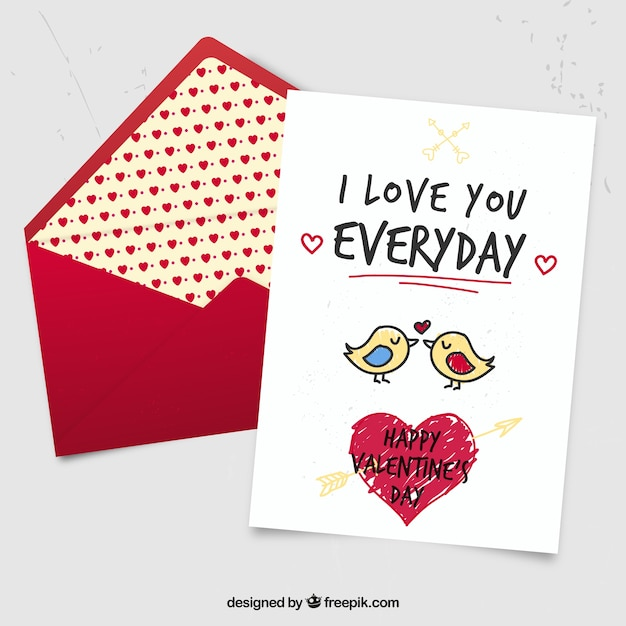 Cute Hand Drawn Birds Valentine Card Free Vector