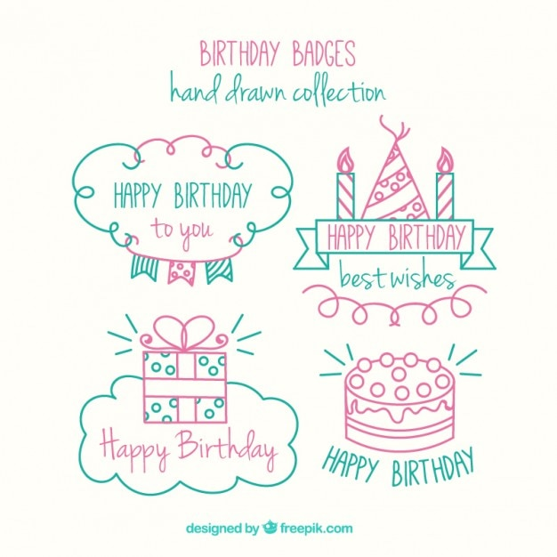 Cute hand drawn birthday badges pack Vector Free Download
